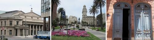 Teatro Solis, Plaza Independencia e porta de casarão colonial no centro de Montevidéu.